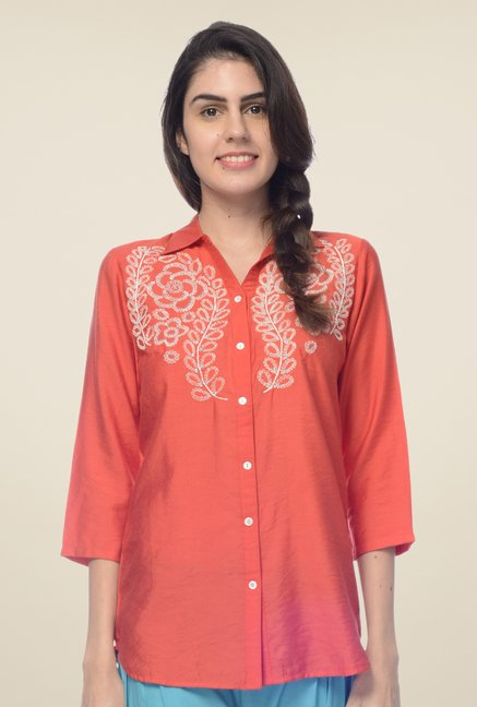 Desi Belle Red Embroidered Shirt
