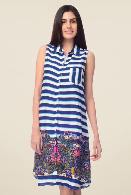 Desi Belle Blue Striped Shirt