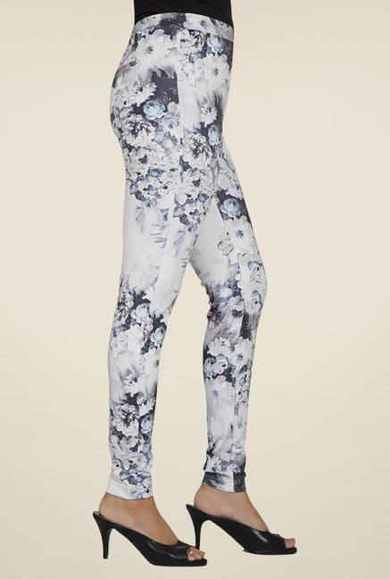 Desi Belle Off White Floral Jeggings