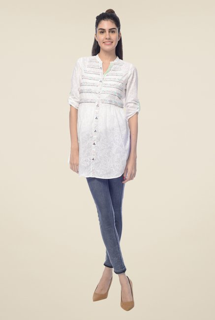 Desi Belle White Printed Shirt