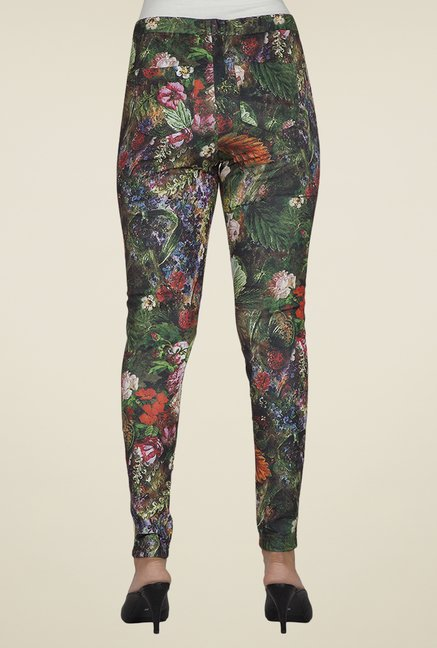 Desi Belle Green Floral Jeggings
