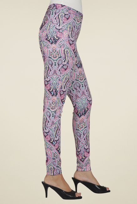 Desi Belle Pink Printed Jeggings