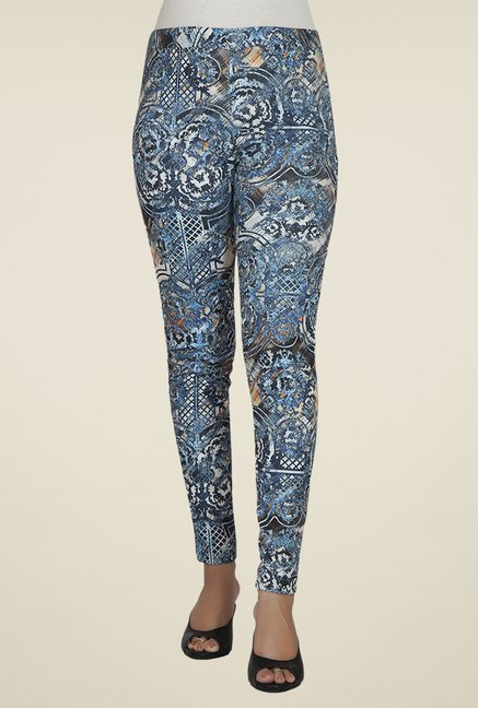 Desi Belle Blue Printed Jeggings