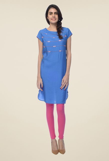 Desi Belle Blue Embroidered Kurta