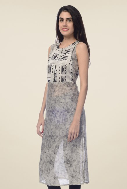 Desi Belle Grey Printed Kurta