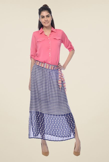 Desi Belle Blue Printed Skirt