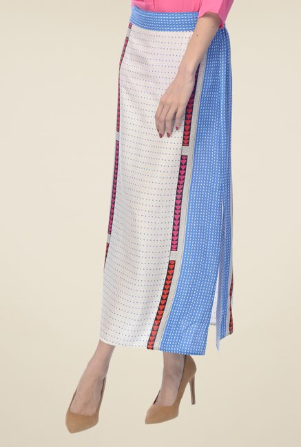 Desi Belle White Printed Skirt