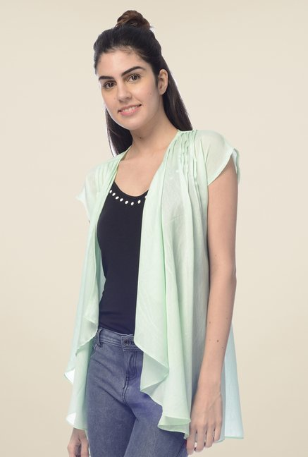 Desi Belle Green Solid Shrug