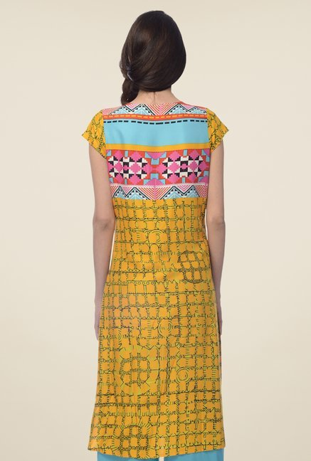 Desi Belle Yellow Printed Kurta