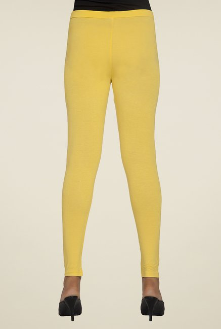 Desi Belle Yellow Solid Leggings