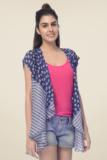 Desi Belle Blue Printed Shrug