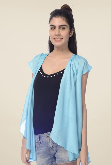 Desi Belle Blue Solid Shrug