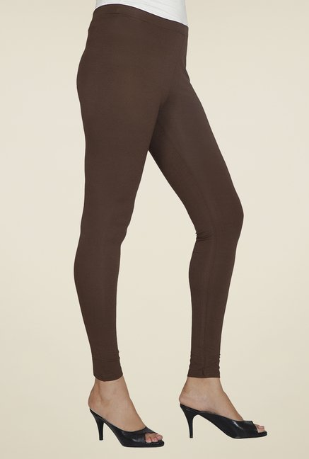 Desi Belle Brown Solid Leggings