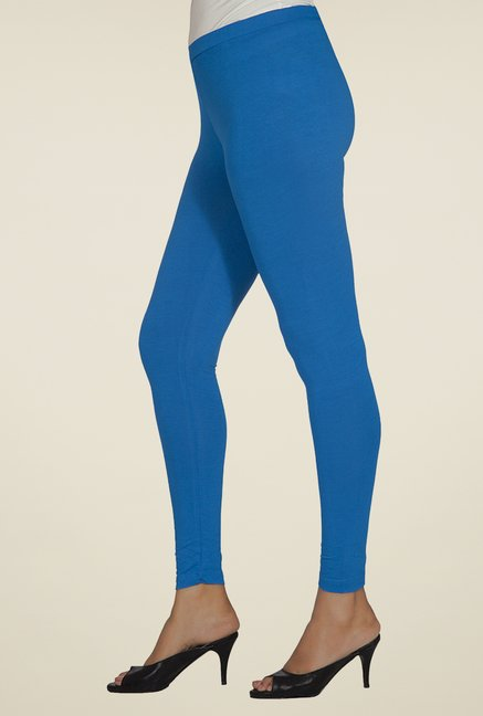 Desi Belle Blue Solid Leggings