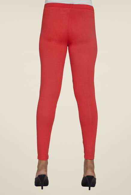 Desi Belle Coral Solid Leggings