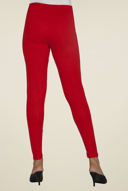 Desi Belle Red Solid Leggings
