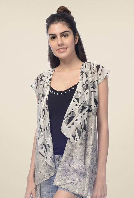 Desi Belle Grey Printed Shrug