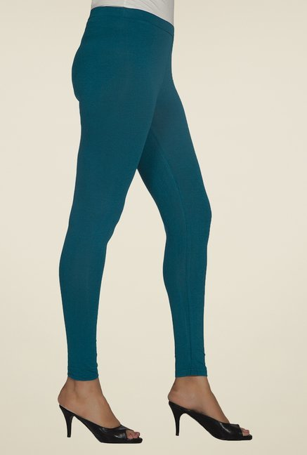 Desi Belle Green Solid Leggings