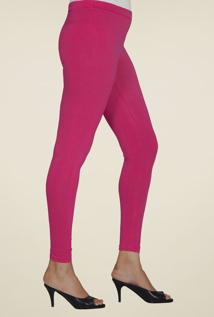 Desi Belle Pink Solid Leggings