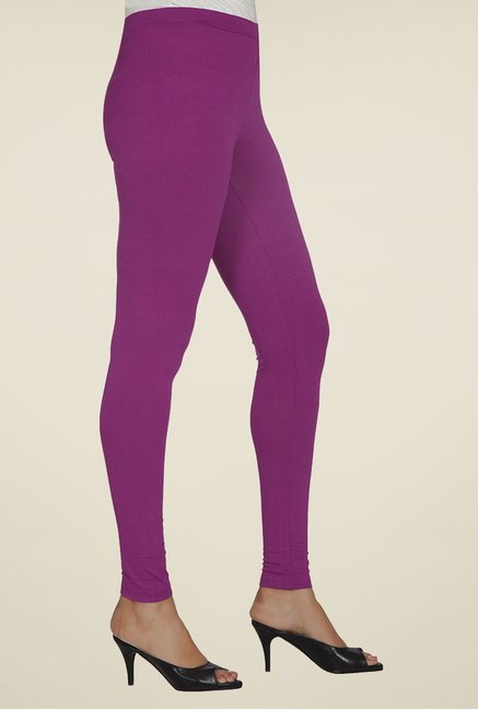 Desi Belle Purple Solid Leggings