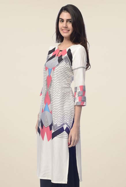 Desi Belle Off White Printed Kurta