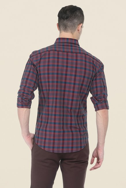 Basics Maroon Checks Slim Fit Cotton Shirt