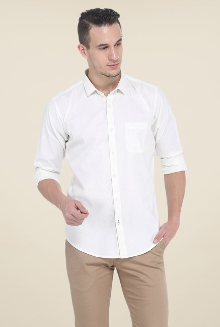 Basics White Textured Shirt