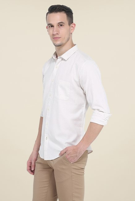 Basics Beige Textured Shirt