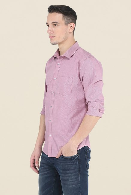 Basics Pink Checks Slim Fit Cotton Shirt