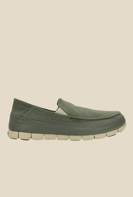 Crocs Stretch Sole Olive & Cobblestone Slip-Ons