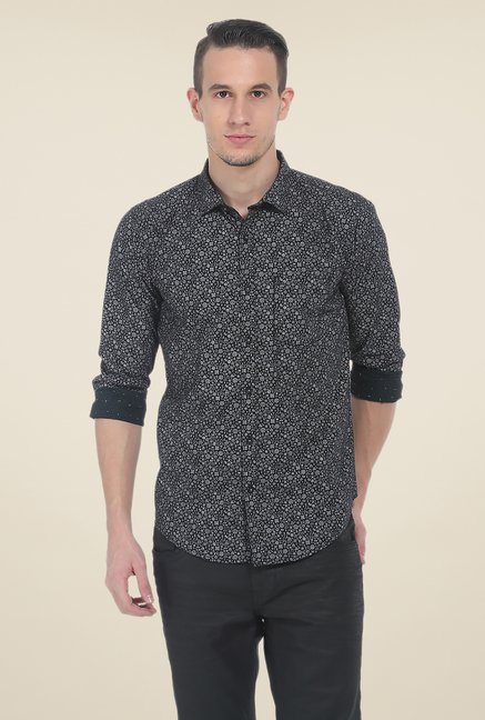 Basics Black Printed Slim Fit Cotton Shirt
