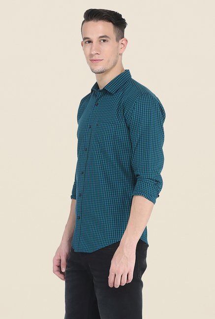 Basics Teal Checks Shirt