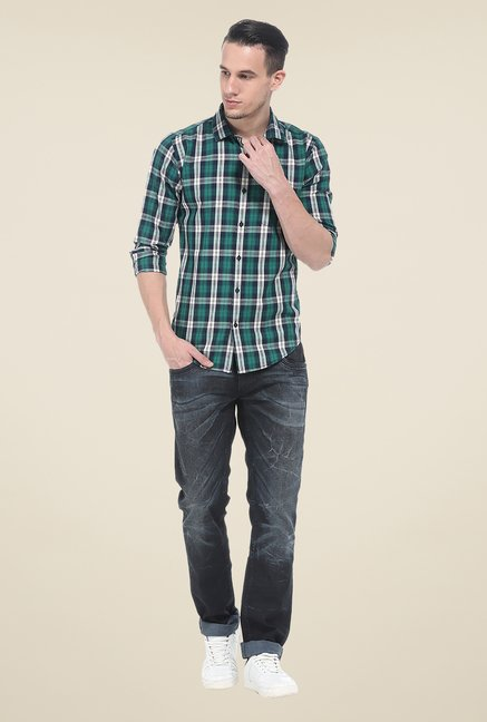 Basics Green Checks Full Sleeve Cotton Shirt