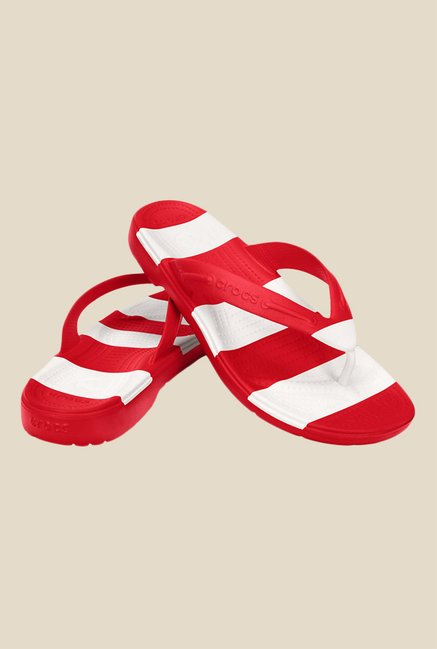 Crocs Beach Line Red & White Flip Flops