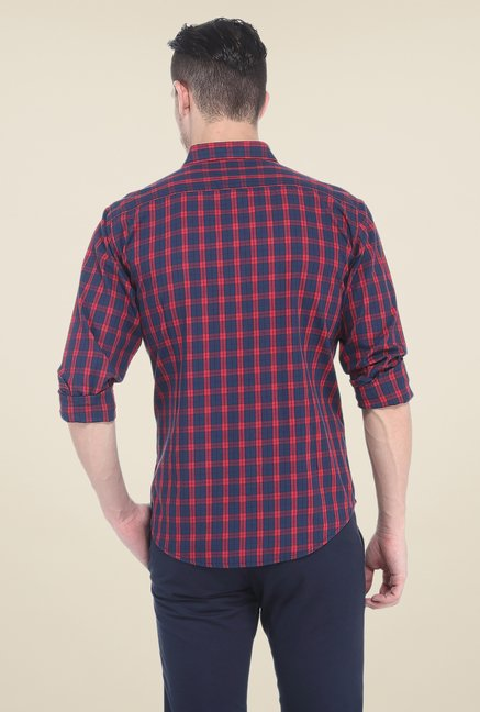 Basics Red & Navy Checks Shirt