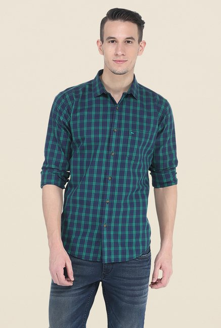 Basics Green & Navy Checks Shirt