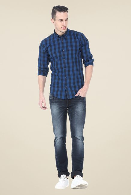 Basics Blue Checks Full Sleeve Shirt