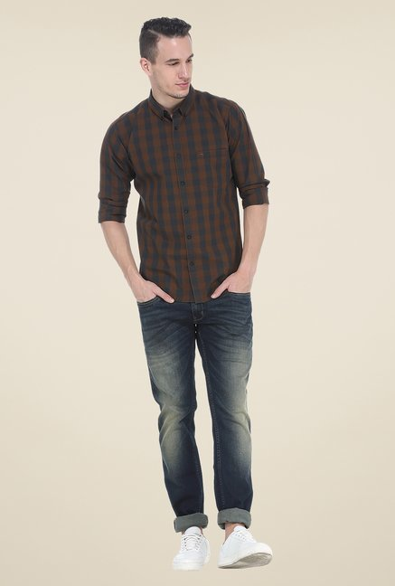 Basics Brown Checks Full Sleeve Shirt