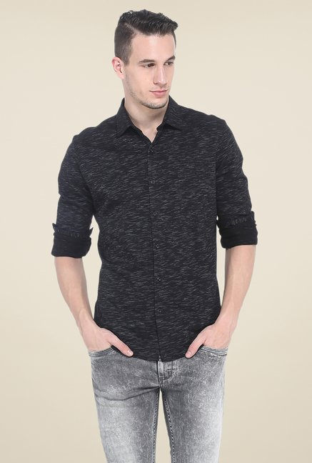 Basics Black Printed Full Sleeve Cotton Shirt