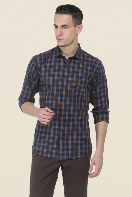 Basics Khaki & Navy Checks Shirt