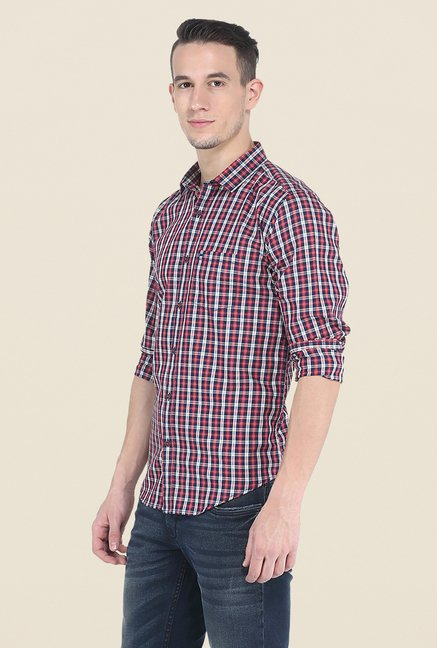 Basics Red Slim Fit Full Sleeve Cotton Shirt