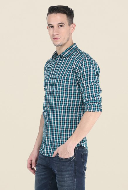 Basics Teal Checks Slim Fit Cotton Shirt