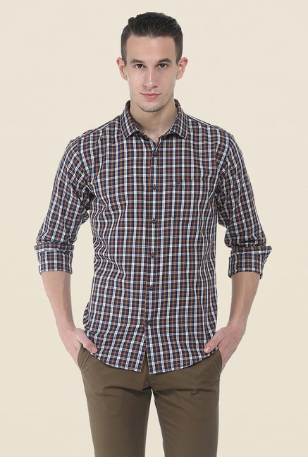 Basics Brown Full Sleeve Cotton Shirt