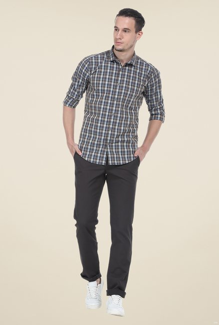 Basics Grey Checks Slim Fit Shirt