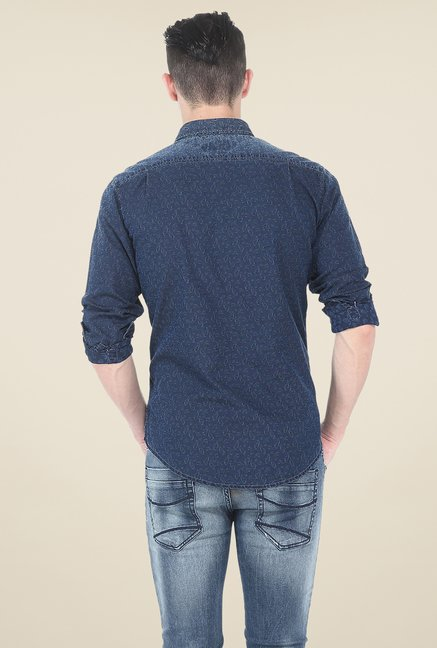 Basics Blue Print Shirt