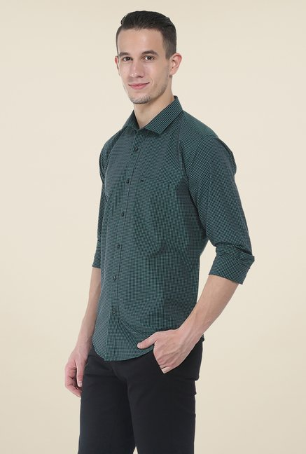 Basics Green Checks Slim Fit Full Sleeve Cotton Shirt
