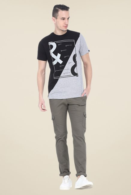 Basics Black Printed Crew T Shirt