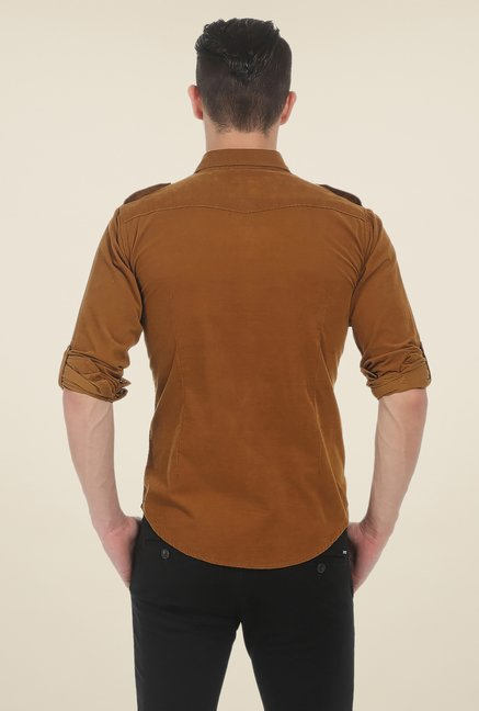 Basics Khaki Solid Shirt