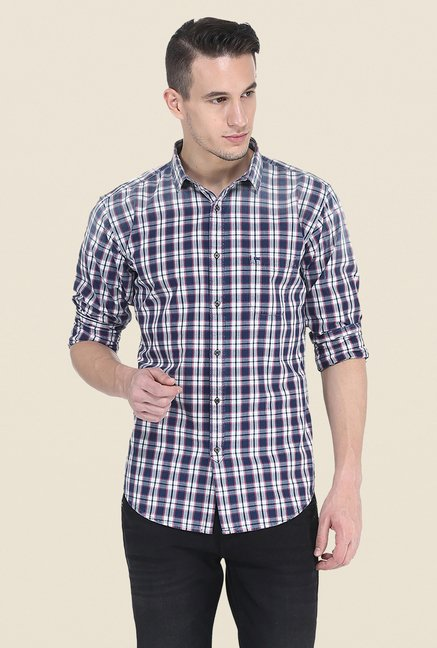 Basics Navy Checks Full Sleeve Shirt
