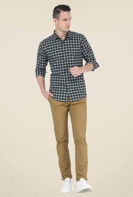 Basics Brown Checks Full Sleeve Cotton Shirt